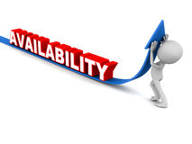 Increase availability. Service availability increase, concept of enhanced serviceability arrow going up by little man's effort on white background Royalty Free Stock Photo