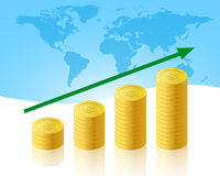 Increase business. Illustration that represent the business increase with graph of coins Stock Images