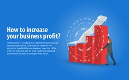 Increase business profits. Banner in a flat 3d style. Sales growth and revenue, business development. A man in a business suit hol. Ds an arrow. Objects on a Royalty Free Stock Image