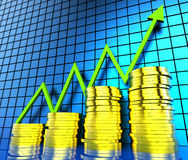 Increase Cash Graph Shows Financial Report And Analysis. Increase Cash Graph Meaning Progress Report And Wealth Stock Photography