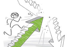 Increase concept. Stick figure is climbing the social ladder Royalty Free Stock Photo