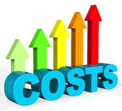 Increase Costs Shows Finances Outlay And Rise Stock Photo
