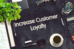 Increase Customer Loyalty on Black Chalkboard. 3D Rendering. Royalty Free Stock Photos