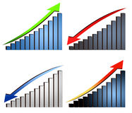 Increase decrease graphs. Stats report Stock Photos