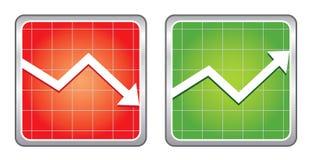 Increase decrease Icons. Increase decrease red glossy Icons Stock Image