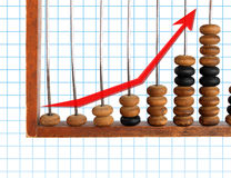 Increase diagram on old abacus Stock Image
