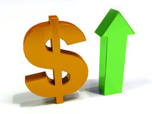 Increase Dollar currency 3D Royalty Free Stock Image