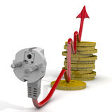 The increase in electricity tariffs. Concept Stock Image