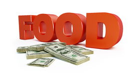 Increase in food prices. On a white background Stock Photos