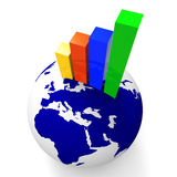 Increase Graph Worldwide Shows Graphics Globe And Statistic Royalty Free Stock Photo