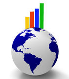 Increase Graph Worldwide Shows Infochart Globalization And Grow Royalty Free Stock Image