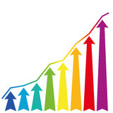 Increase Growth Rainbow Arrows Stock Images