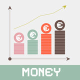 Increase Money Graph Paper. Retro Vector Illustration Stock Images