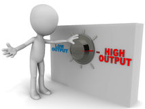 Increase output. Increasing output concept, little man turning the knob to push output to a higher level Stock Photos