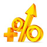 Increase percent on white background. Isolated 3D illustration.  Royalty Free Stock Images