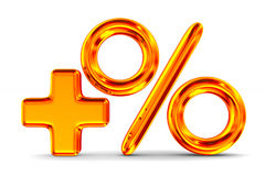 Increase percent on white background. Isolated 3D illustration Royalty Free Stock Image