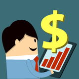 Increase profit. Business man with graph and dollar signs Royalty Free Stock Photos