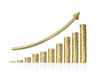 Increase  profit graph on white background Royalty Free Stock Photo