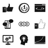 Increase in profit icons set, simple style. Increase in profit icons set. Simple set of 9 increase in profit vector icons for web isolated on white background Royalty Free Stock Image