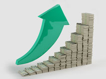 Increase in profits. Green arrow shows the growth in profits in the form of money stacks Royalty Free Stock Photo