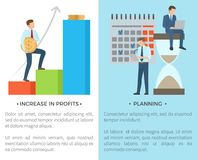 Increase in Profits, Planning Vector Illustration. Increase in profits and planning, set of pics with text and title, man with big coin and people doing their Royalty Free Stock Photo