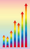 Increase Rainbow Colors Arrows Growth Royalty Free Stock Image