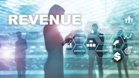 Increase revenue concept. Planing growth and increase of positive indicators in his business. Mixed media. Planning revenue royalty free stock photos
