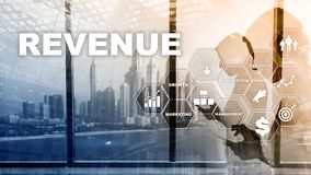 Increase revenue concept. Planing growth and increase of positive indicators in his business. Mixed media. Planning revenue royalty free stock photography