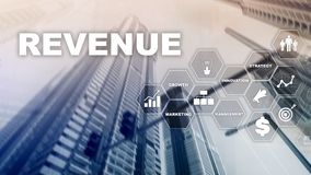 Increase revenue concept. Planing growth and increase of positive indicators in his business. Mixed media. Planning royalty free stock images