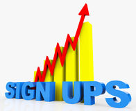 Increase Sign Ups Represents Improvement Plan And Advance Stock Photography