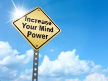 Increase your mind power sign. On blue sky background,3d rendered Stock Photos
