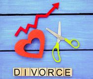 Increased divorce rates. problems of the modern age. the inscription `divorce` and the red up arrow. scissors cut heart. breaking royalty free stock photos