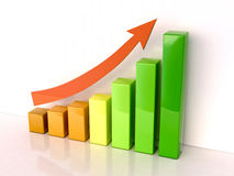 Increased growth. Shiny color bar graph indicating growth on light background Royalty Free Stock Image
