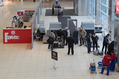 Increased security measures. YEKATERINBURG, RUSSIA - SEP 28: Increased security measures. Screening of passengers at the entrance to the building of the airport Stock Photo