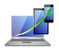 Increasing Business Graph on Laptop. Tablet and phone illustration Stock Photo