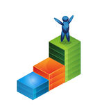 Increasing business man graph icon. illustration in vector format Stock Images