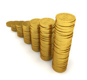 Increasing coin stacks. Savings concept Royalty Free Stock Photo