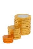 Increasing column of coins. Symbolizing profit isolated over white background Royalty Free Stock Image