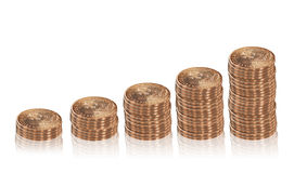 Increasing columns of  coins. Royalty Free Stock Photo