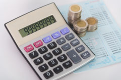 Increasing columns of coins, piles of coins arranged as a graph Royalty Free Stock Photo