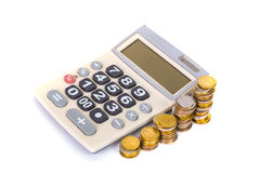 Increasing columns of coins, piles of coins arranged as a graph Stock Photo