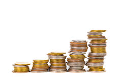Increasing columns of coins, piles of coins arranged as a graph Royalty Free Stock Images