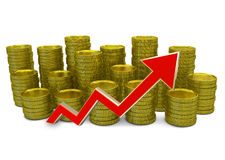 Increasing costs - 3D finance graph - currency and green arrow Stock Photos
