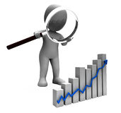 Increasing Graph Character Shows Profit Income Rising Royalty Free Stock Photo