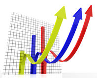 Increasing Graph Indicates Growing Upward And Forecast Stock Photos