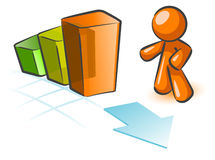 Increasing graph with man. An increasing bar graph with an orange man icon Royalty Free Stock Photo