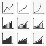 Increasing Graph. Set Of Vector Diagrams With A Rising Trend. S Stock Photos
