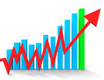 Increasing Graph Shows Financial Report And Advance. Increasing Graph Indicating Financial Report And Upwards Royalty Free Stock Images
