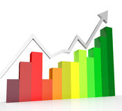 Increasing Graph Shows Financial Report And Biz. Increasing Graph Indicating Progress Report And Financial Royalty Free Stock Images