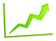 Increasing green arrow on the chart. 3D increasing green arrow on the chart Stock Photography